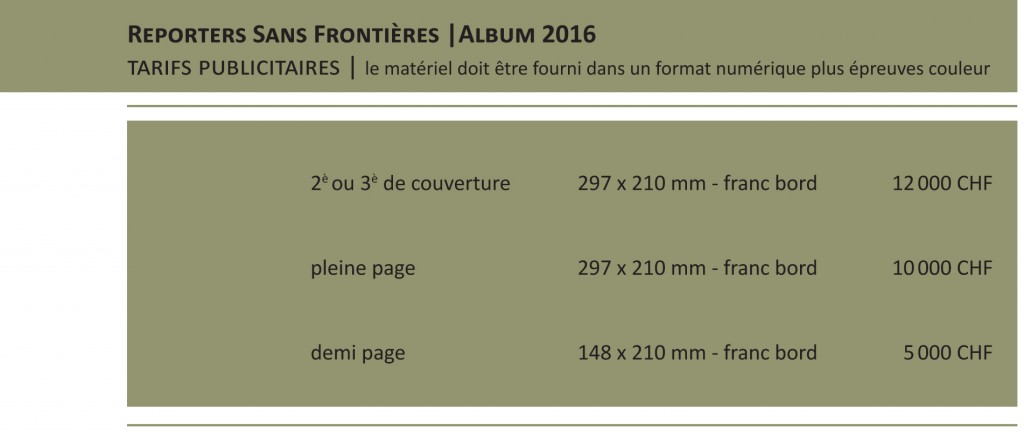 Reporters Sans Frontières tarifs 2016